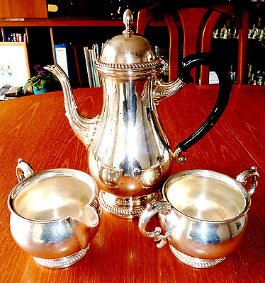 Lovely Mappin & Webb Silver Plated Coffee pot with Sugar pot & Milk Jug