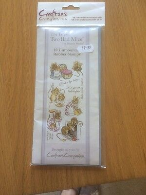 Crafter's Companion 10 Unmounted Rubber Stamps - Beatrix Potter - New