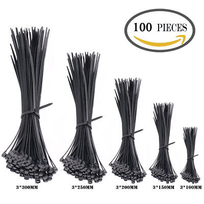 100 Pieces Multi-Purpose Nylon Cable Zip Ties 4 6 8 10 12 Inch Locing Wire Black