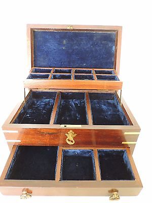 Antique Rosewood Jewellery Box Marquetry Inlay to Top and Sides Velvet Interior