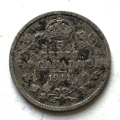 1911 Silver 10 Cents Canada Coin. King George V
