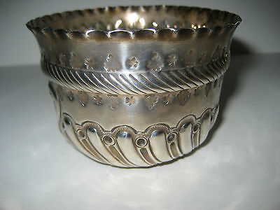 Antique Embossed Hallmarked Silver Bowl, London. 1885.