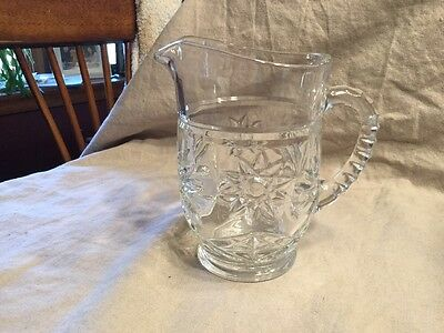 "Anchor Hocking EAPC Star of David #744  5 3/4"" Clear 16 oz Water Milk Pitcher"