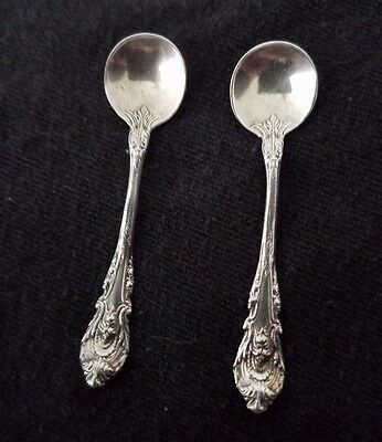 SET of 2 VINTAGE STERLING SILVER SALT SPOONS 2 1/5 INCH - Matching!