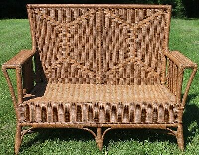 Antique Large Heywood Wakefield Quality Grain Painted Wicker Settee Loveseat.