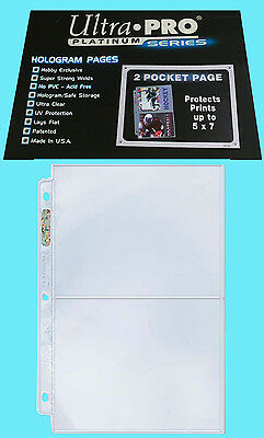 50 ULTRA PRO PLATINUM 2-POCKET Pages Sheets Protector Photo Print Postcard 5x7