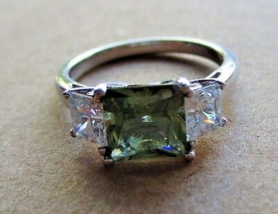 QVC Designer Signed Sterling Silver 925 Three Stone CZ Ring size 8