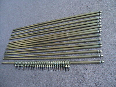 Full Set 15 Vintage Brass Stair Rods And 30 Brackets