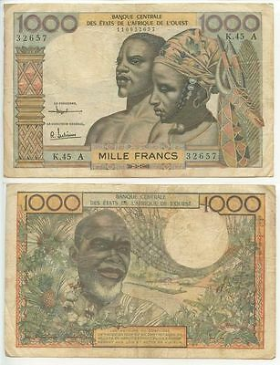 GB014 - Banknote French Westafrican States 1000 Francs 1961 A Côte d'Ivoire