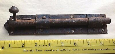 Antique vintage primitive rusty wrought cast iron deadbolt door latch 8 1/2""