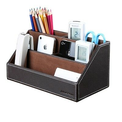 Desk Organizer Wood and Leather Caddy for Desk Stationery Brown