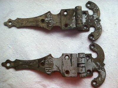 """A pair of, Salvaged, Vintage Solid Brass Hinges  3/4"""" off set, stamped smith 12"""""""