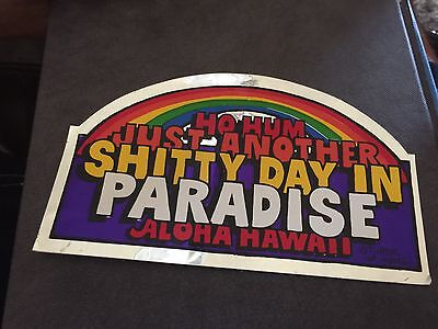VINTAGE HAWAII STATE SOUVENIR TRAVEL RV Luggage Car  DECAL STICKER