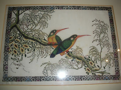 Vintage Chinese Pith Bird Painting #1 REVISED SHIPPING INFO