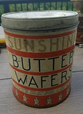Vintage Loose Wiles Biscuit Co Sunshine Butter Wafers Advertising Tin