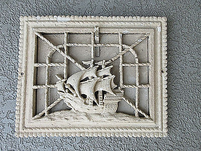 Collectible Antique Cast Iron Spanish Galleon Ship Heat Grate Floor Wall Vent