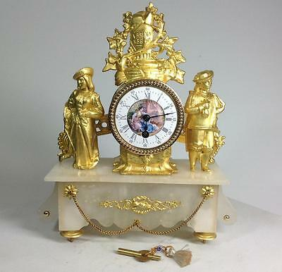 Perfect 19th Genuine French Alabaster & Rococo 24K Gilded 8 days Mantel Clock