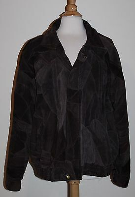 Men's Brown Leather Jacket Coat Size XL X-Large