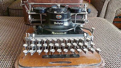 Antique Hammond Multiplex Typewriter  with oak case