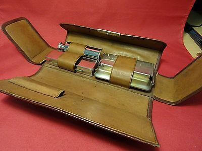 Antique Spirit Burner Heater for Curling Iron in Leather Case
