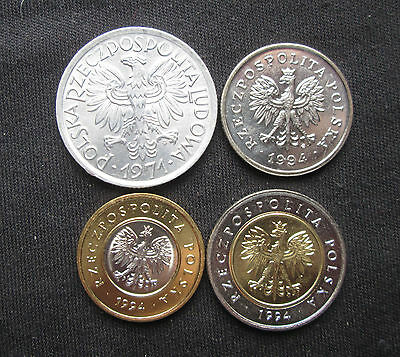 Poland: 4 Coins, 2 Zlote 1971 and 1, 2 and 5 zlotych from 1994