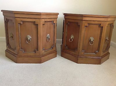 2 VINTAGE END TABLES WITH BURL WOOD TOPS FROM THE 60's--GREAT CONDITION!