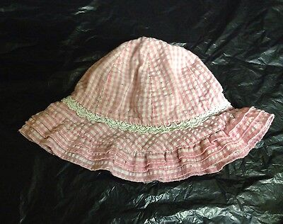Baby Girl's TU Pink/White Checked/Check Pattern Summer Hat Size 6-12 Months 46cm