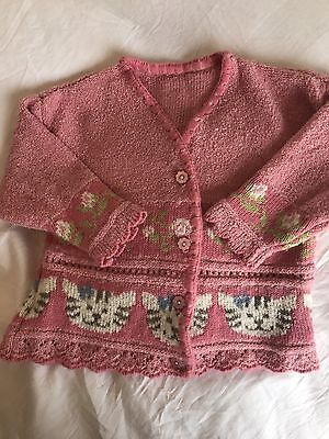 Beautifully Detailed Pink Cardigan 6-12 Months From George With Kitty Design