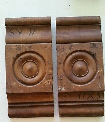 Pair of Antique Carved Wood Plinth Blocks Trim Door Moulding Architectural (E)