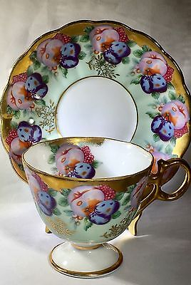 Vintage Royal Sealy China Tea Cup And Saucer Footed Fruit Plums Gold Japan