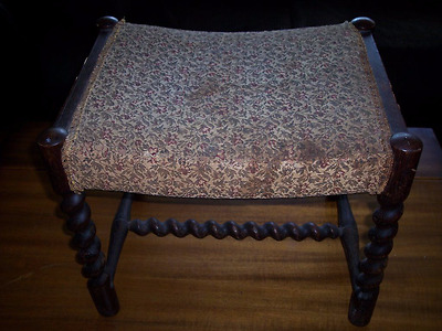 Antique English Barley Twist Foot Stool, Old Upholstery