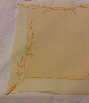 17pc MARGHAB Organdy Placemat/Napkin/Runner Set~Yellow/Gold Trailing Vine~FINAL