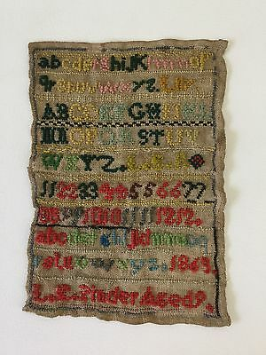 Antique 1869 Alphabet & Number Hand Stitched Sampler, Signed Pinder, Age 9