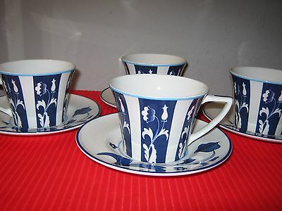 Portofino Blue SPODE FINE WHITE BONE CHINA CUPS & SAUCERS - (4)