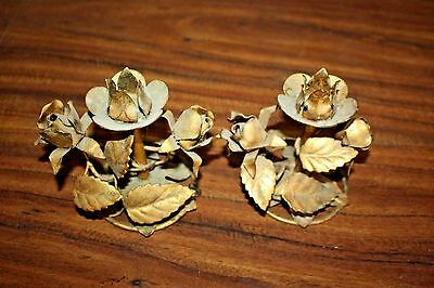 Pair Of Vintage Tole Italy Gold Gilt Candle Holders