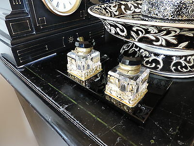Antique Black Marble - Ink Stand with Gold & Glass Ink Pots