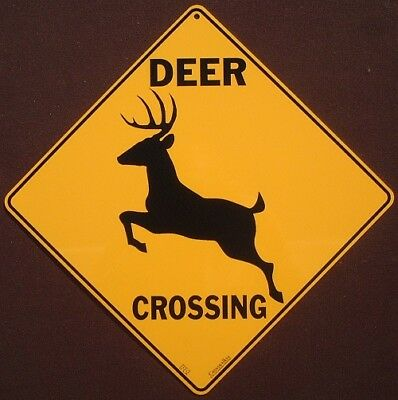 DEER CROSSING Sign silhouette animals decor hunting novelty home wildlife signs