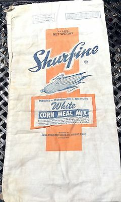Vintage Shurfine Cornmeal Mix Double Sided SACK Advertising