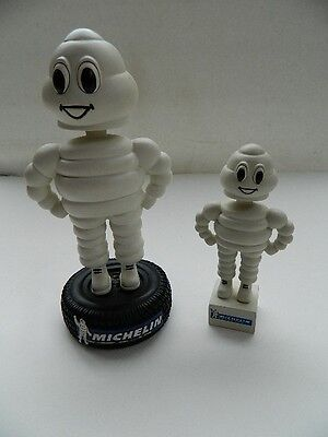 """Michelin Man Bobble Heads Michelin Tires 7.25"""" Limited Ed & 4.75"""" Small,lot Of 2"""