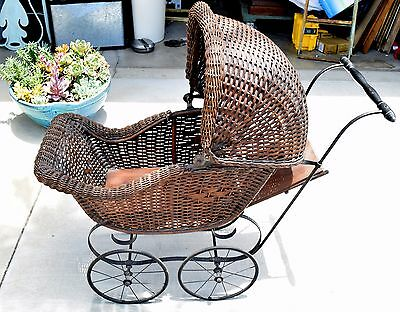 Wicker Victorian Baby Carriage Buggy Stroller Pram Gendron Label RARE