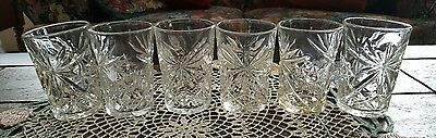 "Anchor Hocking Early American Prescut Set Of 6 Nwt 4.5"" Tumblers"