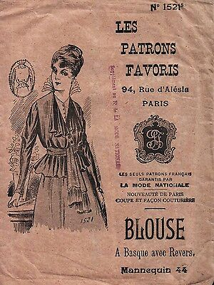 Antique FRENCH Sewing Pattern - Blouse - Basque avec Revers - Bust 38 inches