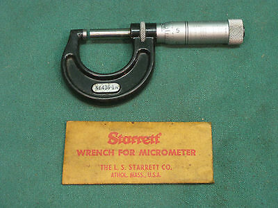 "STARRETT No.436  1"" MICROMETER - WITH WRENCH"