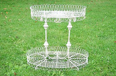 Old Antique Victorian Era Wrought Iron Double Table Or Plant Stand Circa 1900