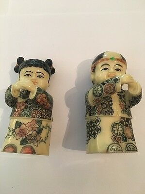 Vintage Carved Japanese Netsuke Man Woman Statues Signed On The Bottom 👀