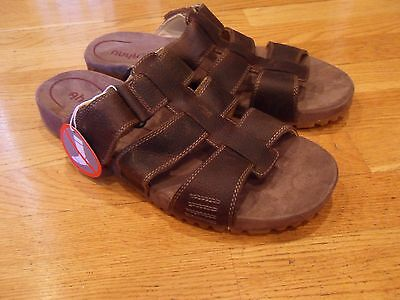 NEW Men's AHNU Fisher Casual Slides/Sandals, Shoes, Brown Leather, size 11