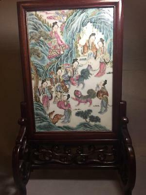 Fine Antique Chinese Famille Rose Porcelain Table Screen Plaque Ladies Animals