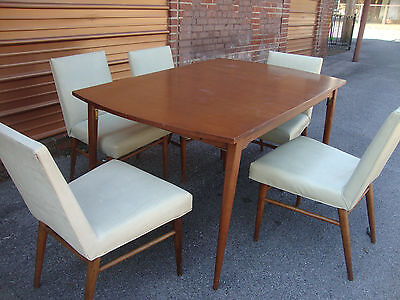 Mid-Century Modern Extension Dining Table + Five Chairs