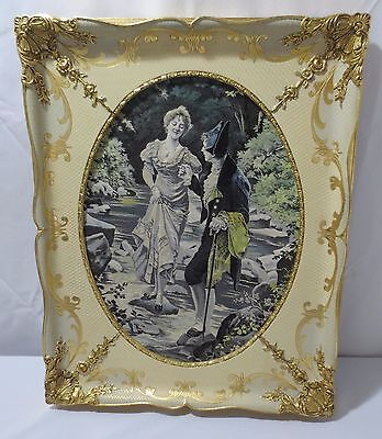 VTG ANTIQUE FRENCH TAPESTRY EMBROIDERY Framed Wall Art Crossing Stream Gold Gilt