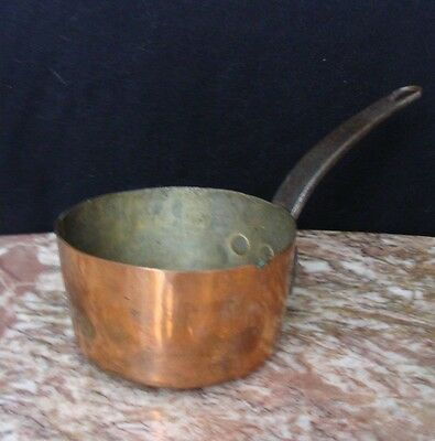 Antique Small Copper Pot Marked 11 Under Handle